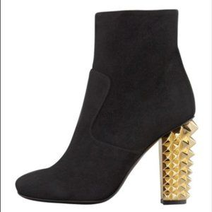 Fendi Studded Suede Ankle Boot Heels